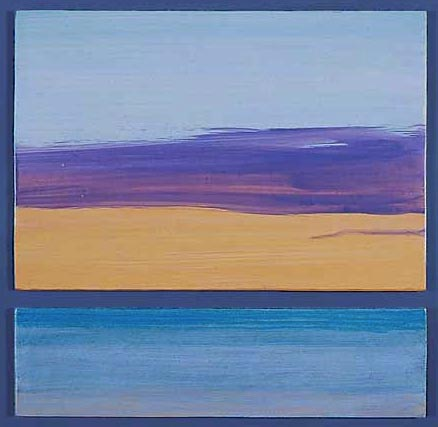 "Monona Sunrise, Acrylic paint on split panels, 12"" X 12"", 2004"